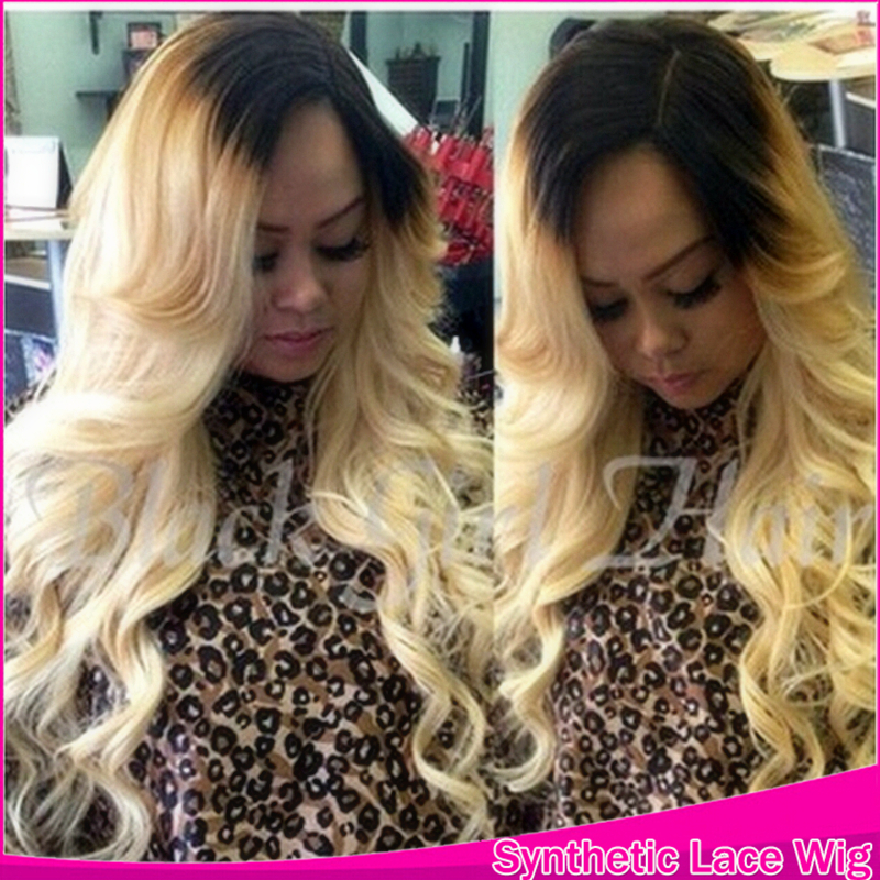 2016 New Luxury Ombre Synthetic Black To Bright Blonde Hair Lace Front Wavy Wigs Hair Products Body Wave Perruque Heat Resistant(China (Mainland))