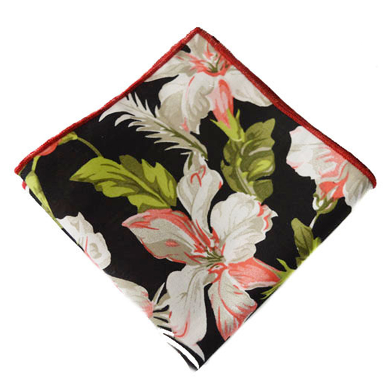 New Fashion Chinese Style Peony Floral Handkerchief Business Casual Hankies Men & Women Cotton Pocket Square For Wedding Party(China (Mainland))