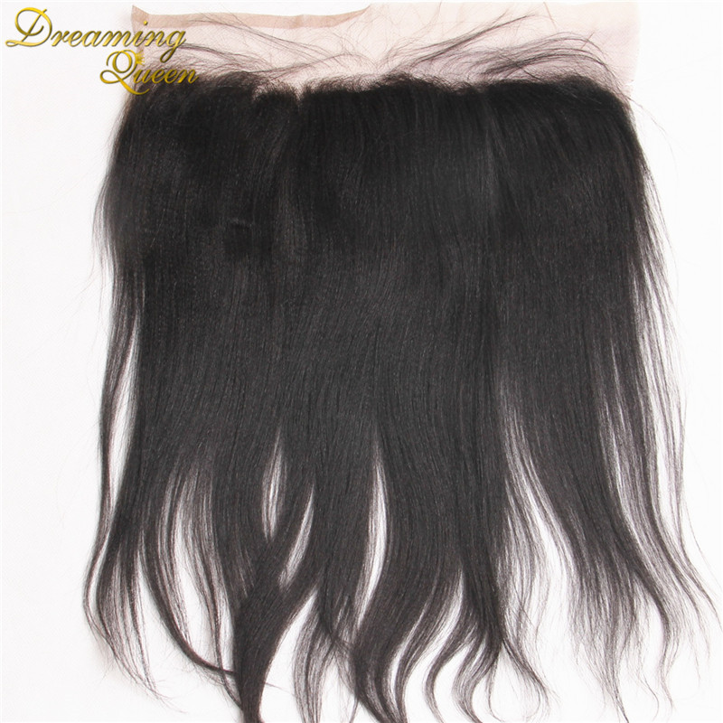 13x4 Indian Yaki Straight Full Lace Frontal Closure With Baby Hair,Malaysian Virgin Human Hair,Bleached Knots With Free Shipping