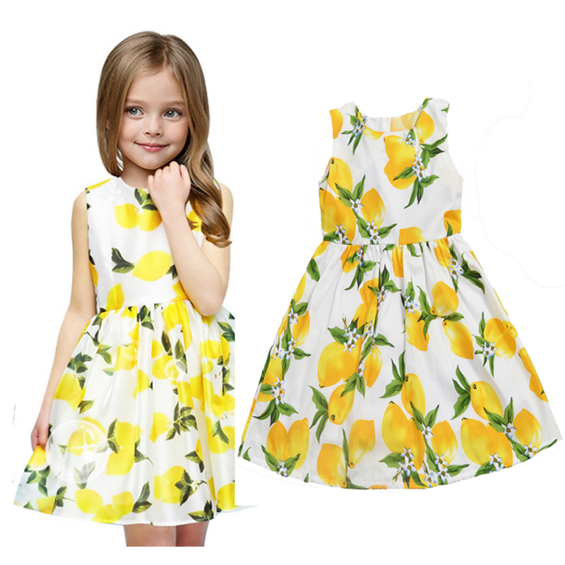Baby Girl Dresses For Birthday Party Lemon Designs Newborn Dresses For Girls Dress Summer 2016 High Quality Baby Girl Clothes(China (Mainland))