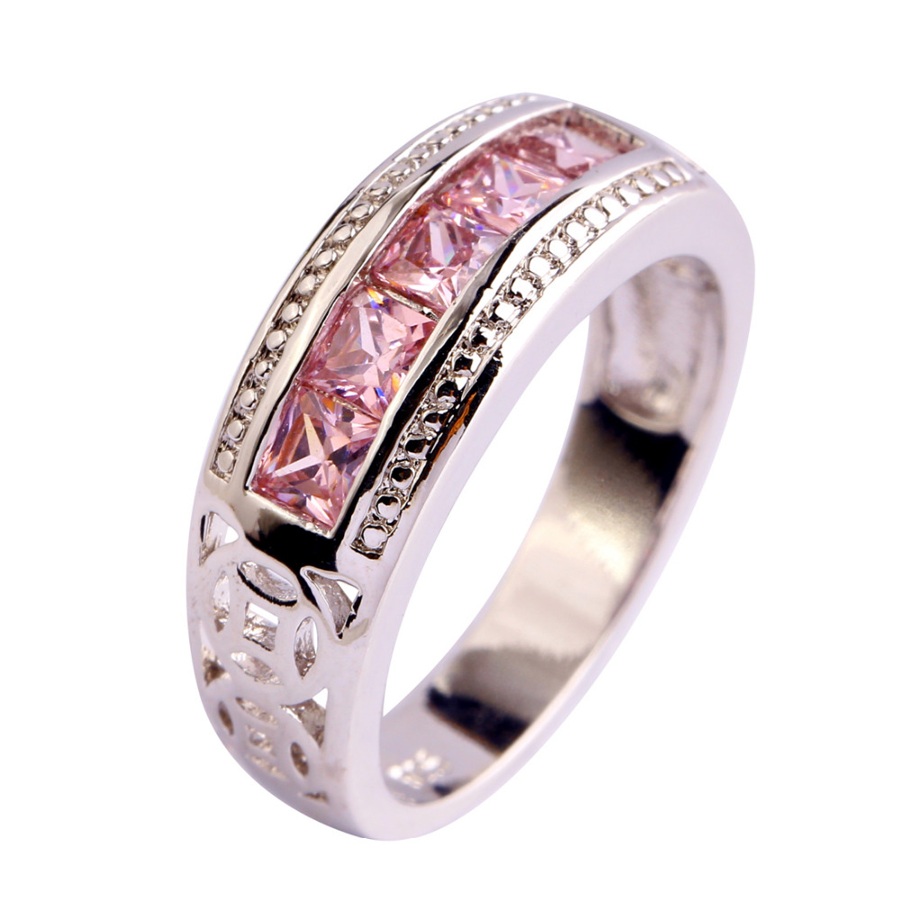 lingmei Free Shipping Pink Topaz New Popular 925 Silver Ring Jewelry For Women Gift Size 6 7 8 9 10 Engagement Rings Wholesale(China (Mainland))