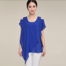 2016 women vestidos Asymmetric chiffon blusas shirts,vintage blazer girl pullover chiffon chirts,plus size clothes S-4XL 5XL 6XL(China (Mainland))
