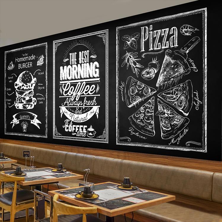 Free Shipping Blackboard personalized hand mural Cafe fast food restaurant leisure bar milk tea shop wallpaper mural(China (Mainland))