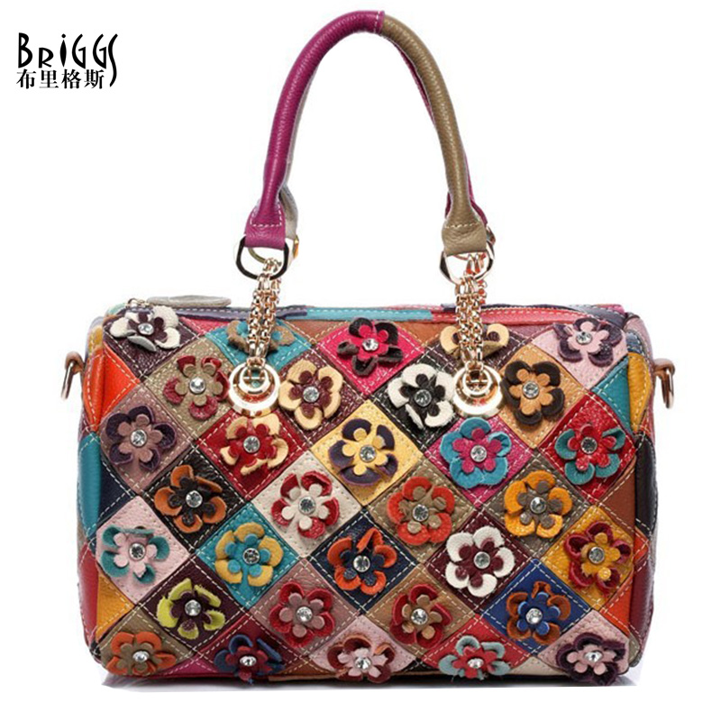 BRIGGS Genuine Leather Women's Shoulder Bag Fashion Patchwork Flower Women Cross Body Bags Colorful Tote Lady Messenger Bag B-2(China (Mainland))