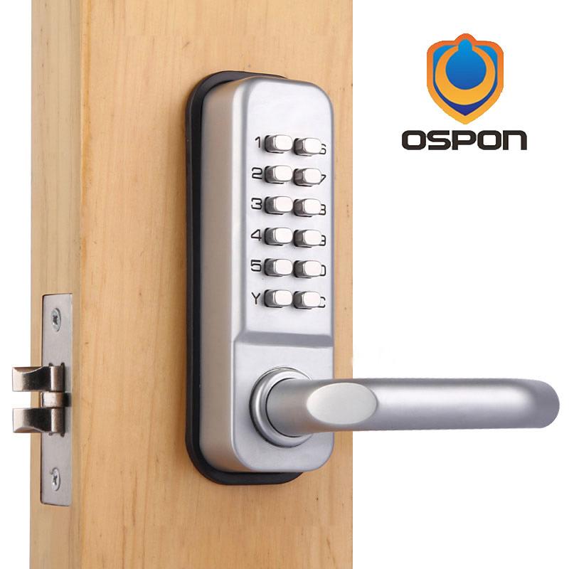 Lock pick Ospon Waterproof lever handle mechanical combination yard door lock ,stain nickel OS209A(China (Mainland))