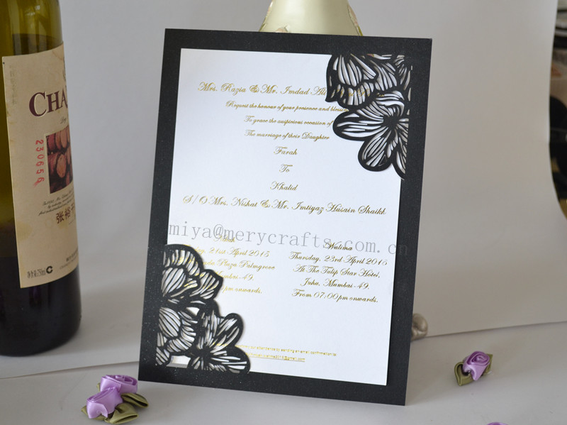 floral invitations cards blank wedding rsvp cards and envelopes laser cut(China (Mainland))