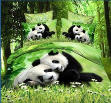 panda bedding,3D oil painting bedding sets without filler,cute panda comforter bedding sets queen(China (Mainland))