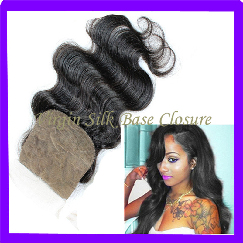 Cheap Silk Base Closure 3 Part Brazilians Hair 4x4 Brazilians Body Wave Silk Base Closure Bleached Knots Natural Skin Color 1B#(China (Mainland))
