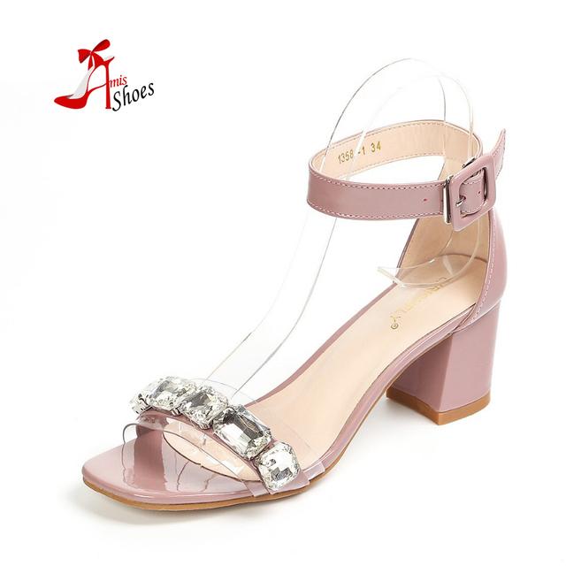 Высокое качество 2016 мода женщин простой стрэп полосы толстого мед - пятки сандалии ...