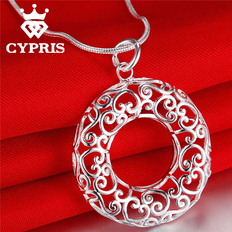 2016 lose money sale silver Pendant charm necklace Circle Hot 1mm snake 18inch hollow flower plant wholesale price promotion(China (Mainland))