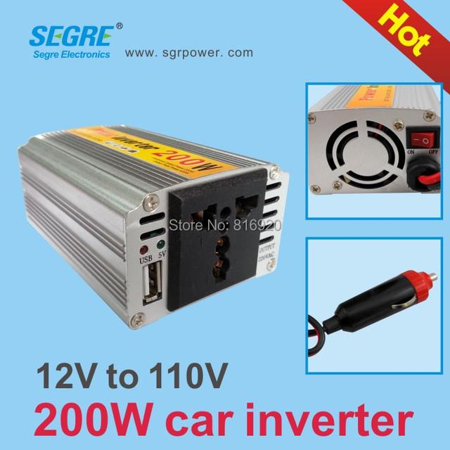 1pcs/lot 200W battery inverter charger for car power converter 12v 110v car Free Shipping