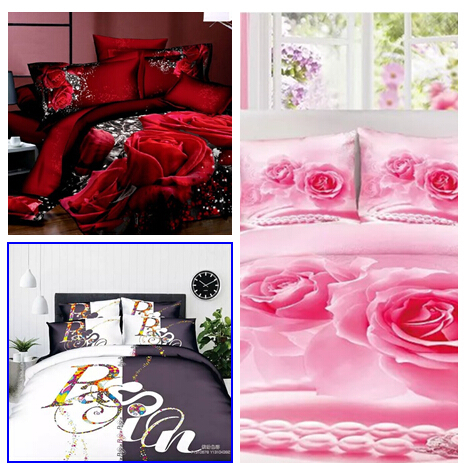 2015 3d bedding set rose duvet cover set 4pcs bed linen 3d parure de lit cotton bed sheets king. Black Bedroom Furniture Sets. Home Design Ideas