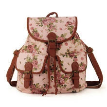 Preppy Style Hotsale Canvas Material Floral School Backpack Mochila Women Bag Top Quality Free Shipping