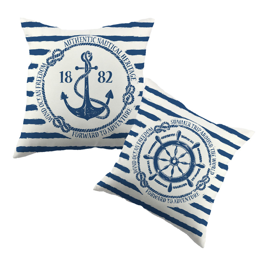 Sea Blue Helm Printed Cushion Cover Anchor Pattern Marine Cottom Throw Pillow Case New Year Decorative Pillowcase(China (Mainland))
