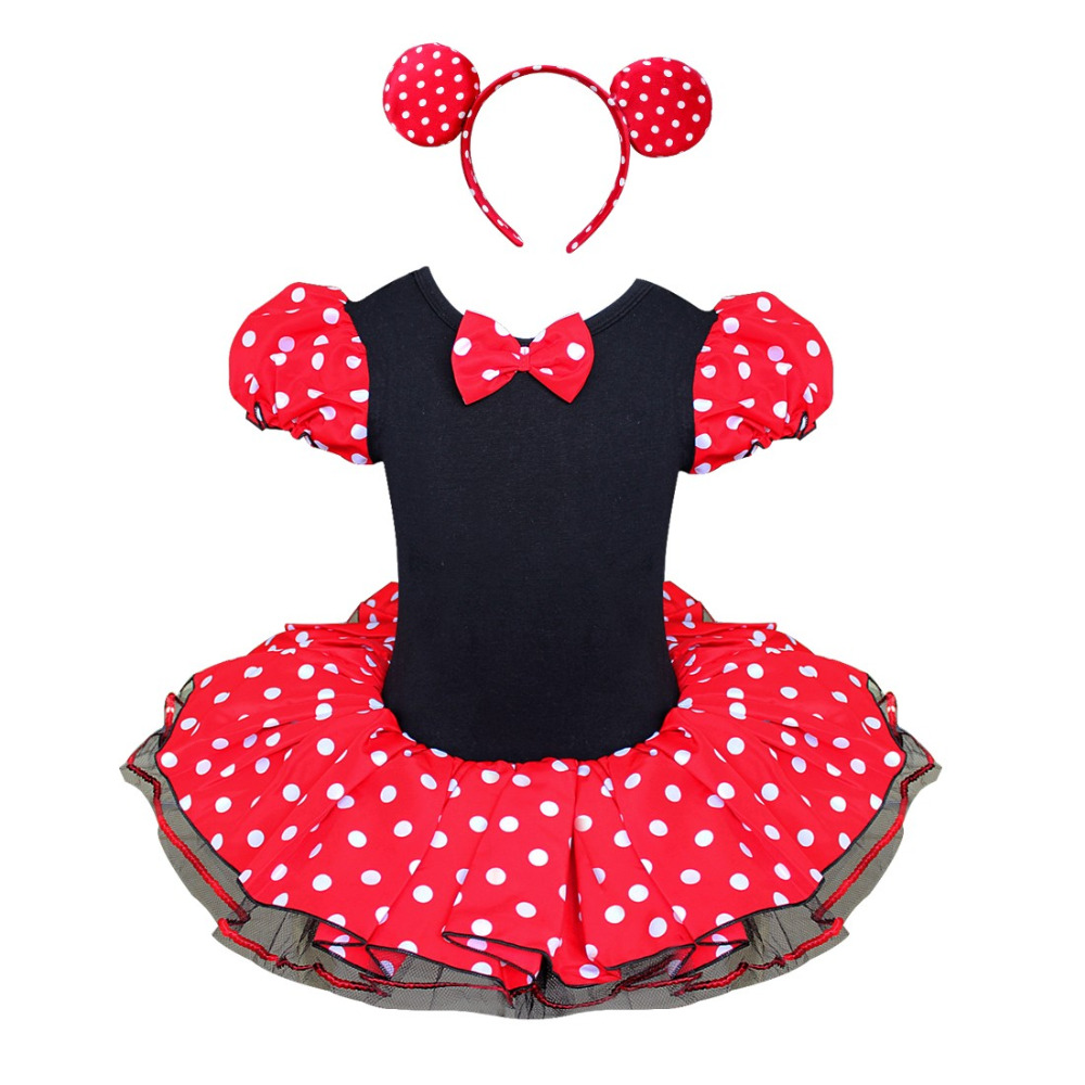 2017 New Girls Dress Summer Retail Minnie Mouse Dress Mini Mouse Costume Ballet Tutu Dress+Ear 1-10Y girls party dress(China (Mainland))