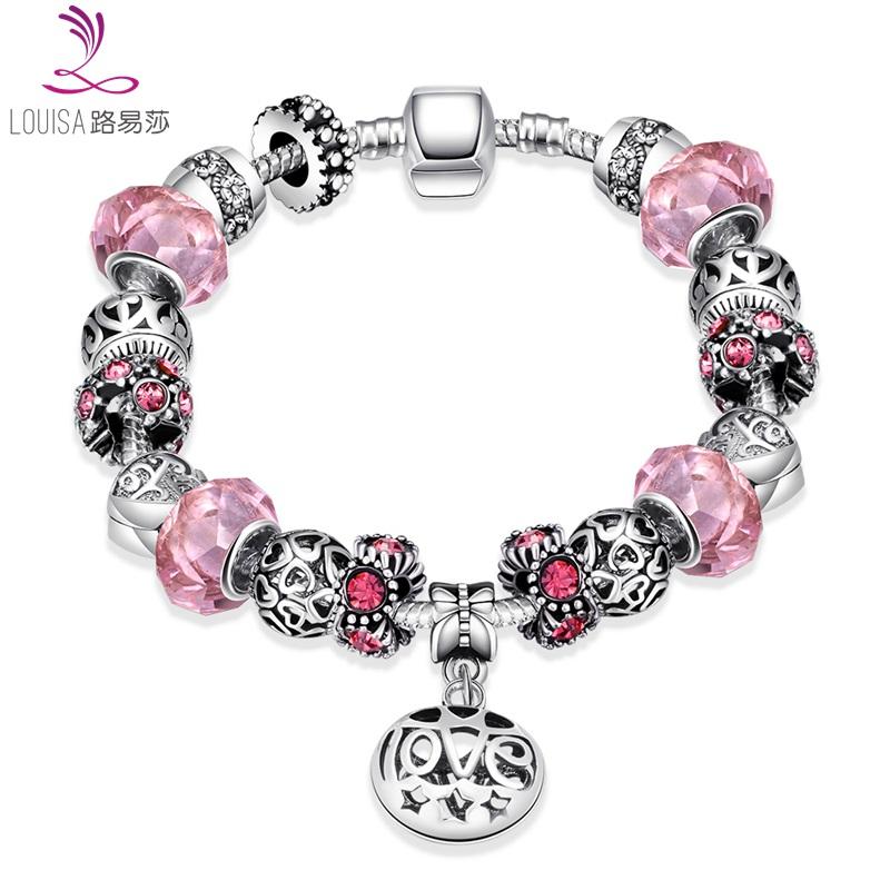 Love shape Charm Bracelets cute Style bracelet bling bling glasss bead Bracelets pink Glass Bead Czech Drill Bracelet LF-10111(China (Mainland))