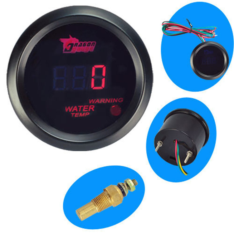 FAVOR Black 2 1 16 inch 52mm Digital Red LED Water Temperature GaugeIn Stock(China (Mainland))