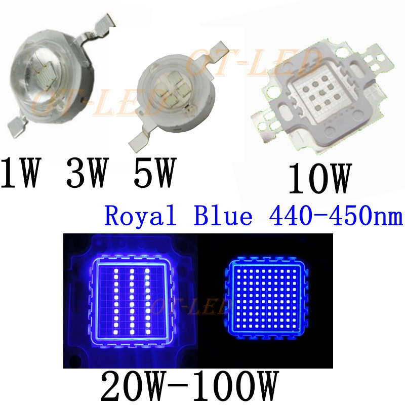 high power royal blue led grow chip 440nm 450nm 1w 3w 5w. Black Bedroom Furniture Sets. Home Design Ideas