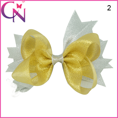 Gold Silver Glitter Hair Bows Baby Girls Spike Hair Bow With Alligator Clips Beautiful Glitter Hair
