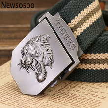 Buy 2017 designer fashion tiger men canvas belt casual military mens metal buckle jeans belts Army Green black stripes 110 120cm for $7.13 in AliExpress store