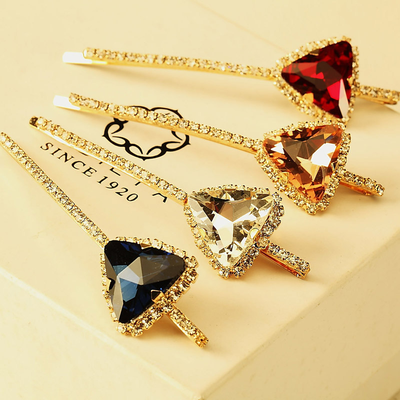 2pcs/lot korea fashion wedding hair accessories long big triangle crystal stone hairpins for women bride girls clip for hair(China (Mainland))