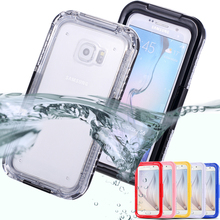 S6/edge Waterproof Swim Diving Case For Samsung Galaxy S6 G9200/ S6 Edge Clear Protective Front & Back PC+ TPU Cover Accessories(China (Mainland))