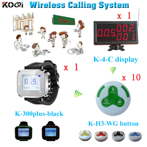 3-digit number 1 display receiver+ 1 led watches + 10 call bell customized LOGO any language Restaurant table call system(China (Mainland))