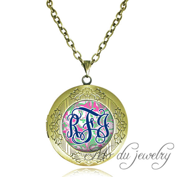 Copper name necklace initial necklaces & pendants round locket pendant monogram glass pendant personalized jewelry wholesale(China (Mainland))
