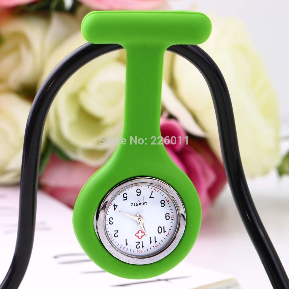 1Pcs Mini Portable Silicone Gel Doctor Nurses Brooch Pin Pocket Fob Tunic Watch Multiple Colors new arrival Quality(China (Mainland))