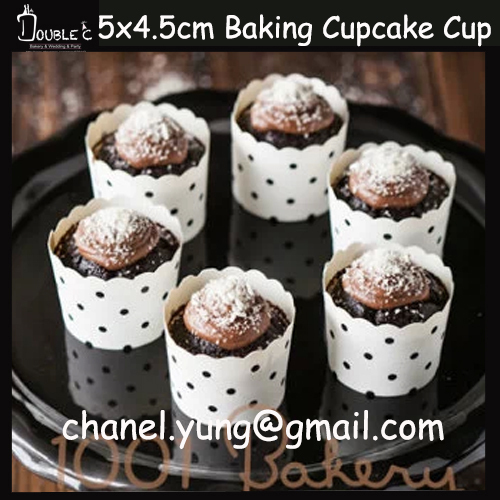 Free Shipping 50pcs White Dot Bubbles Cupcake Toppers Muffin Wraps Baking Greaseproof Paper Disposable Stands(China (Mainland))