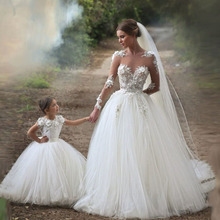 2016 Wedding dresses Vintage Applique Puffy Long Sleeve Lace Ball Gown Princess Wedding Dress Plus Size Bridal Gown(China (Mainland))