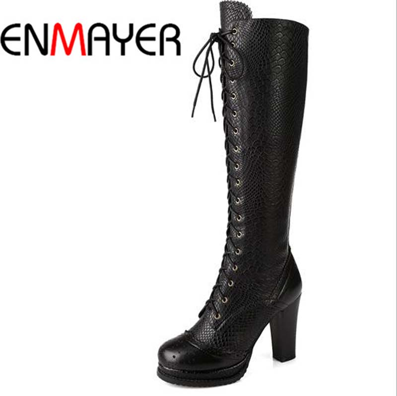 ENMAYER Full Grain Leather Boots For Women New Fashion Round Toe High Boots Shoes Hot Carving Winter Lace-Up Knee-High Boots <br><br>Aliexpress