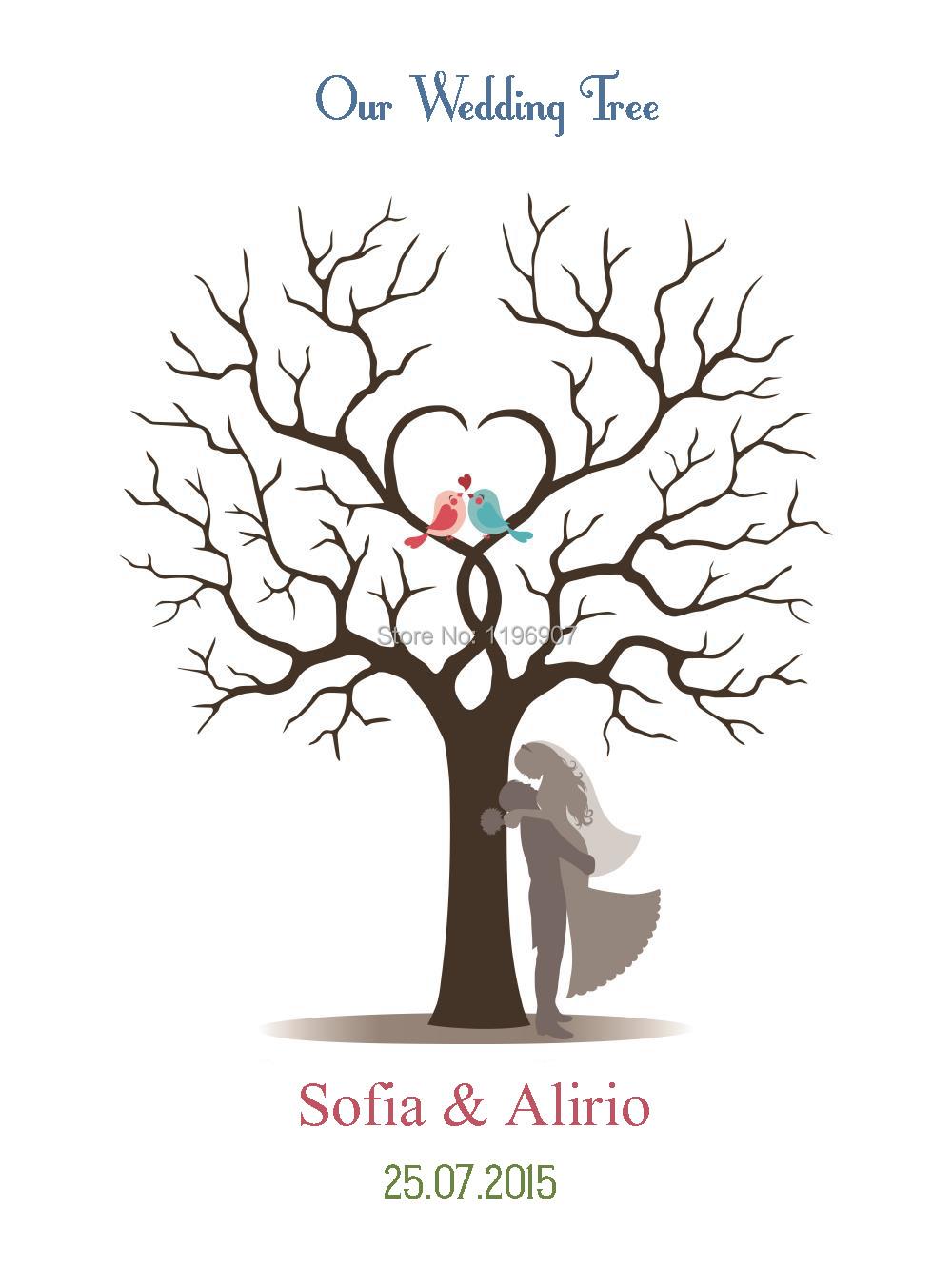 casamento wedding fingerprint tree guest book love brids. Black Bedroom Furniture Sets. Home Design Ideas