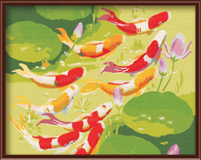 Hot Selling DIY Oil Painting By Numbers Hand Painting Oil On Canvas Frameless Chinese Style Of Fish Wall Decor 40*50cm G051(China (Mainland))