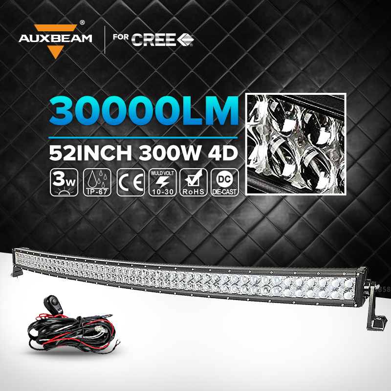 Auxbeam 52Inch 300W Cree Chips Curved LED Light Bar Work Lamp Combo ATV Trailer 4X4 For Jeep Truck Car Roof Driving Light(China (Mainland))