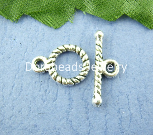 Free Shipping! 50Sets Tibetan Silver Screwl Toggle Clasps 9*11mm (B00398)(China (Mainland))