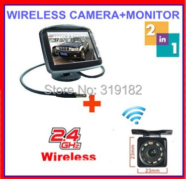 parking sensor wireless 2.4ghz wireless camera RCA VideoTransmitter Receiver reverse camera connect 3.5 TFT LCD monitor(China (Mainland))
