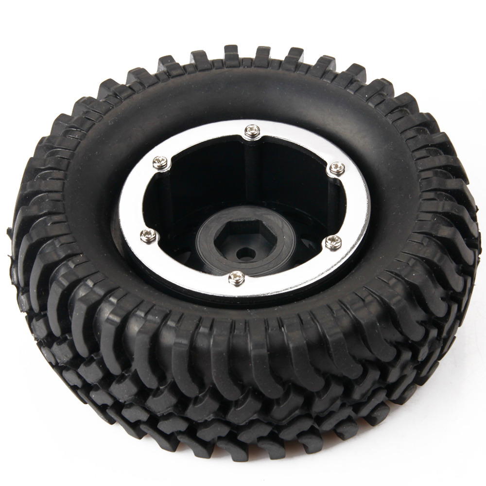 """New 1.9"""" Aluminum 100mm Rubber Tires & Wheel Hex 12mm For 1/10th RC Crawler Climbing Car Rock Racer HPI Redcat Racing AXIAL(China (Mainland))"""