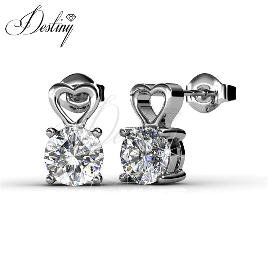 Destiny Jewellery Sweet Love Earrings hot sale Embellished with Crystal from Swarovski new for women 18K gold plating DE0076(China (Mainland))