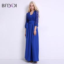 BFDADI Сексуальная Элегантный Кружева 3/4 Рукава Женщины Макси Платье Новая Мода Сплошной цвет Лоскутное Повседневные Платья с поясом BF024(China (Mainland))