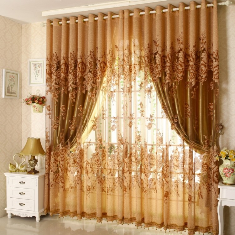 Ready jacquard print peony curtains with beads,gold voile ,color pink tulle ,blackout curtain , 0761,child fresh ready curtain(China (Mainland))
