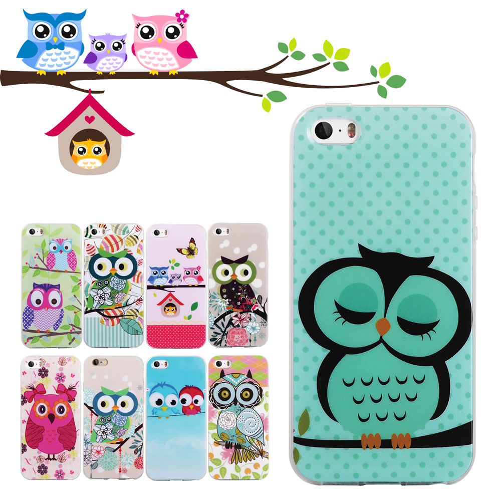 iPhone 5S Case Cute Owls Soft TPU Gel Cover 5 SE 4 4S 6 6S Plus 7 Silicone Phone Cases - Best Accessory store