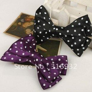 New Fashion polka ribbon bow Hairclips, 30pcs/lot