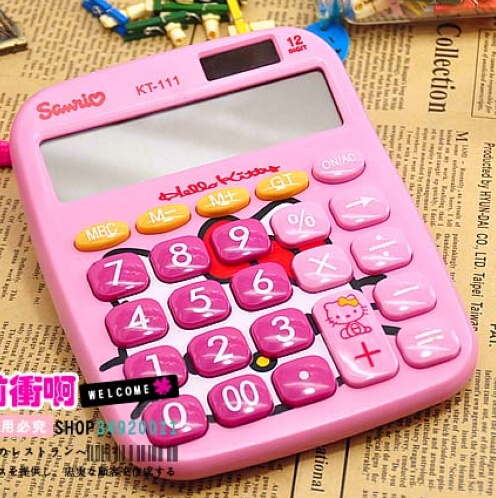 Creative Cartoon Hello Kitty Doraemon Student's Solar Energy Type Calculator(China (Mainland))