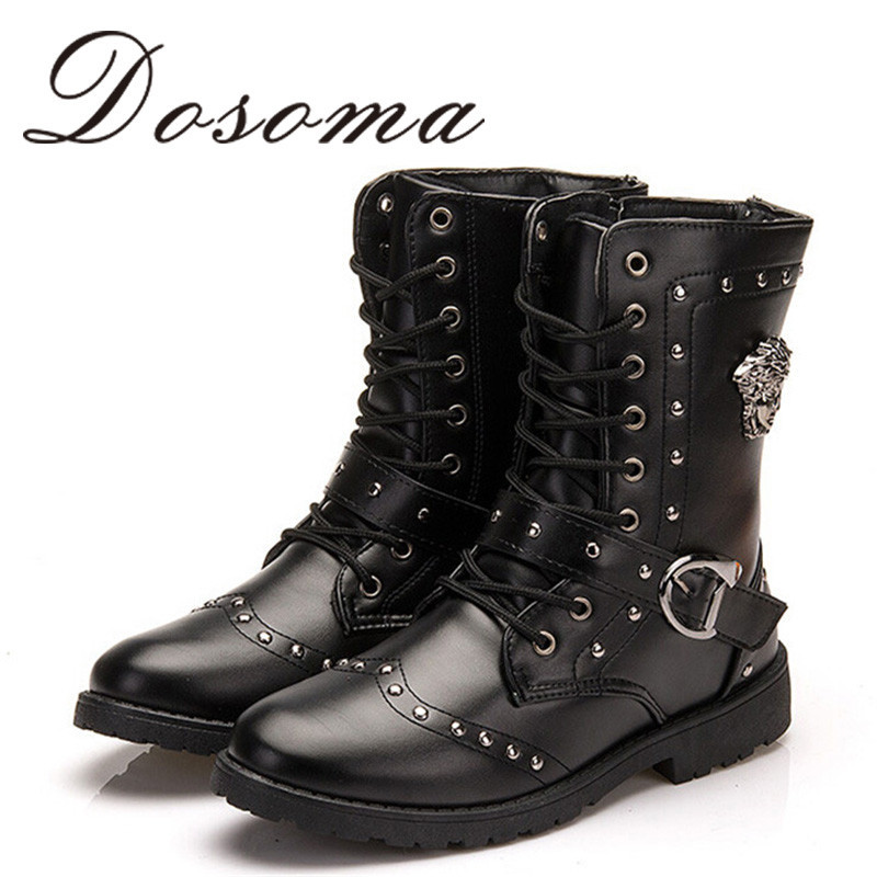 Fashion Men Ankle High Boots Men Pu Patent Leather Boot Male 2015 Punk Style Motorcycle Boots Shoes Winter Buckle Shoes Charm(China (Mainland))