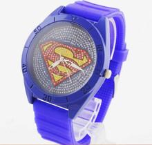 Envío gratis 2014 nueva moda Superman reloj venta al por mayor, dibujos animados reloj de cuarzo reloj de diamantes amantes de moda unisex reloj