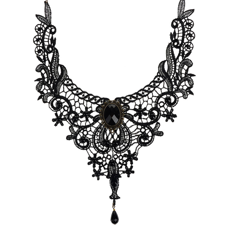 2015 Fashion Jewelry Black Lace & Beads Choker Victorian Steampunk Style Gothic Collar Necklace Gift(China (Mainland))