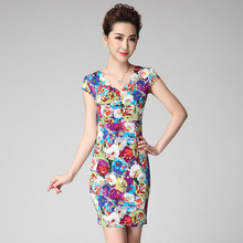 2015 Ladies Sheath Floral Printed V-neck Short Dress Cap Sleeve Slim Bodycon Stretch Dresses