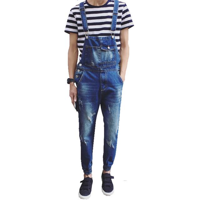 Мужская повседневная карман светло-голубой джинсовые комбинезоны Тонкий комбинезоны ...