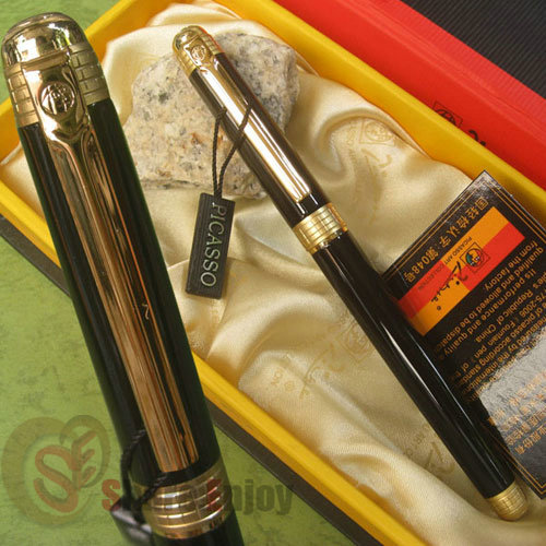 PICASSO 909 BLACK AND GOLDEN MEDIUM NIB FOUNTAIN PEN SPACE TIME OF LONDON<br><br>Aliexpress